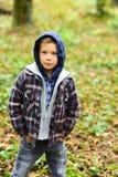 tidig fall Liten pojke i nedgång Småbarn i den utomhus- tillfälliga dräkten Förtjusande pojke i hoodien, nedgångmode Nedgången är royaltyfri foto