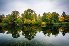 Tidig höstfärg och en sjö på Østre Anlæg, i Köpenhamn, D Royaltyfri Foto