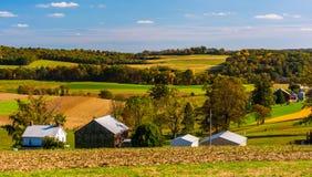 Tidig höstsikt av lantgårdar i lantliga sydliga York County, Pennsy royaltyfri fotografi