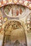 Tidig kristen freskomålning i den ortodoxa kyrkan El Nazar, Cappado för grotta Royaltyfri Fotografi