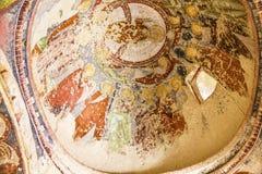 Tidig kristen freskomålning i den ortodoxa kyrkan El Nazar, Cappadocia, Turkiet för grotta Goreme öppet museum, Anatolien royaltyfria foton
