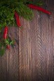Tidig sort för konstbakgrundsgrönsak stiger ombord bordlägger träparsleydill p Royaltyfri Bild