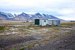 Tidigare flygplatsläge i Longyearbyen, Spitsbergen, Svalbard Arkivfoton