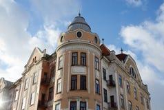 Tidigare hotell Bristol i Chernivtsi, Ukraina, berömd gränsmärke Fotografering för Bildbyråer