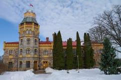 Tidigare Kropotkin Sigulda för ny slott säteri, nu Sigulda kommunfullmäktige royaltyfria foton