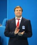 Tidigare olympisk mästare och FINA-medlem Vladimir Salnikov under medaljceremoni på Rio de Janeiro 2016 OS Arkivfoto