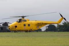Tidigare Royal Air Force, RAF Westland WS-55-3 virvelvindhelikopter G-BVGE på RAF Waddington Arkivbild