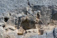 Tidigt medeltida vaggar den lättnadsMadara ryttaren från perioden av första bulgariska välde, listan för UNESCOvärldsarvet, Bulga Royaltyfria Foton