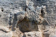 Tidigt medeltida vaggar den lättnadsMadara ryttaren från perioden av första bulgariska välde, listan för UNESCOvärldsarvet, Bulga Royaltyfria Bilder
