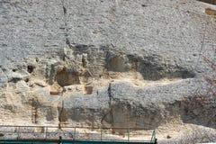 Tidigt medeltida vaggar den lättnadsMadara ryttaren från perioden av första bulgariska välde, listan för UNESCOvärldsarvet, Bulga Arkivbild