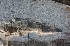 Tidigt medeltida vaggar den lättnadsMadara ryttaren från perioden av första bulgariska välde, listan för UNESCOvärldsarvet, Bulga Royaltyfri Bild