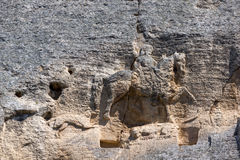 Tidigt medeltida vaggar den lättnadsMadara ryttaren från perioden av första bulgariska välde, listan för UNESCOvärldsarvet, Bulga Arkivbilder