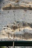Tidigt medeltida vaggar den lättnadsMadara ryttaren från perioden av första bulgariska välde, listan för UNESCOvärldsarvet, den S Royaltyfri Foto