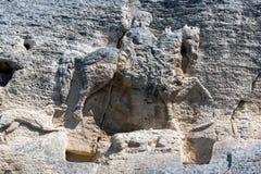 Tidigt medeltida vaggar den lättnadsMadara ryttaren från perioden av första bulgariska välde, listan för UNESCOvärldsarvet, den S Arkivbilder