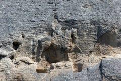 Tidigt medeltida vaggar den lättnadsMadara ryttaren från perioden av första bulgariska välde, listan för UNESCOvärldsarvet, den S Royaltyfria Foton