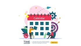 tidledning och f?rhalningbegrepp planl?ggning och strategi f?r aff?rsl?sningar med klockan, kalendern och mycket litet folk vektor illustrationer