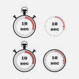 Tidmätare 18 sekunder på grå bakgrund Royaltyfria Bilder