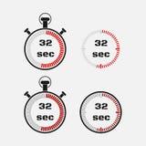 Tidmätare 32 sekunder på grå bakgrund Royaltyfri Fotografi