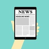 Tidning på tableten royaltyfri illustrationer