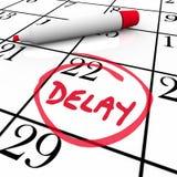 Tidsbeställning möte skjutet B för datum för fördröjningkalender schema felande stock illustrationer