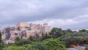 Tidschackningsperiod för främre sikt av akropolen lager videofilmer