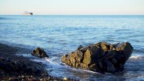 Tidvattens- tråkmåns på stenig kiselstenhavskust lager videofilmer