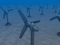 Tidvattens- vinka turbiner på bottnen av havet. Arkivbild