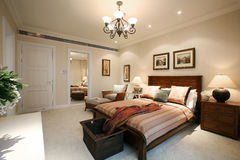 Tidy bedroom. Indoor Environment, Home Furnishing Royalty Free Stock Photo