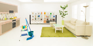 Tidy room after spring cleaning Stock Photo