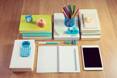 Tidy student desktop Stock Images