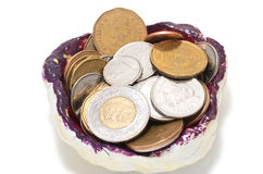Tidy sundries tray vide-poche with Canadian coins. Inside, focus on two dollars coin Stock Images