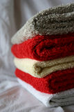 Tidy Towels. Colorful and Dry Towels prepared for using - closeup Stock Photos