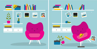 Tidy und untidy room. Living room with armchair and book shelves. Royalty Free Stock Photos