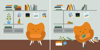 Tidy und untidy room. Living room with armchair and book shelves. Flat design vector illustration Stock Photo