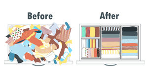 Before and after tidying up kids wardrobe in drawer. Messy clothes and nicely arranged clothes in piles. Stock Images