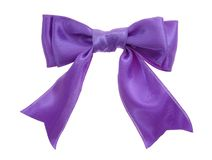 Tie. Purple double loops bow and ribbon isolated on white background Royalty Free Stock Images
