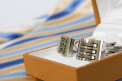 Tie, belt and cufflinks Royalty Free Stock Photography