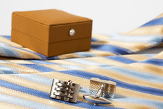 Tie, belt and cufflinks Stock Image