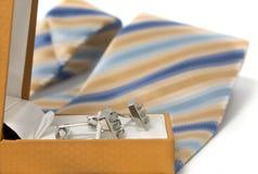 Tie, belt and cufflinks Royalty Free Stock Photo
