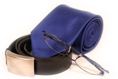 Tie, belt and Glasses Stock Photography