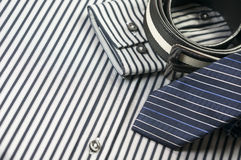 Tie and belt on men shirt Royalty Free Stock Images