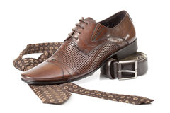 Tie, belt and shoe Stock Photography