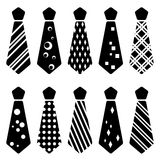 Tie black silhouettes Royalty Free Stock Images