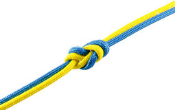 Tie from blue and yellow rope Royalty Free Stock Photo
