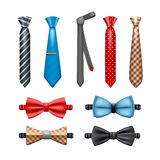 Tie And Bow Tie Set. Tie and bow tie realistic set in different shapes and colors isolated vector illustration vector illustration