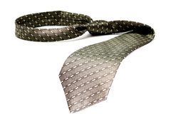 Tie of the businessman of grey color with a simple pattern Stock Photos