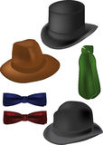 Tie the butterfly scarf cylinder fedora. Classical clothing vector illustration