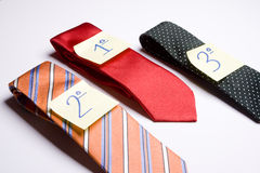 Tie competition. Three ties isolated over white background Stock Image