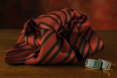 Tie and cuff button Stock Photography