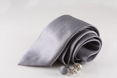 Tie with cuff links. On background royalty free stock image